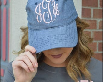 Monogrammed Chambray Hats for Women - bridesmaids, graduation, gifts, baseball cap