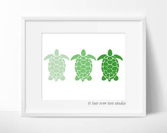 Green Turtle Print: Digital Printable Art for Beach Decor, Nautical Nursery