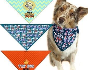 Big Bad Woof, Bark Bark Woof Woof & Top Dog - Funny Dog Bandana Med to Large Dogs - Set of 3 - 203-LG