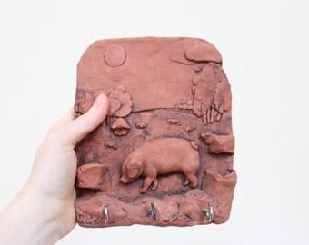 terracotta key hanger key rack storage farmyard pig pigs piglet decor storage organization handmade vintage british antique