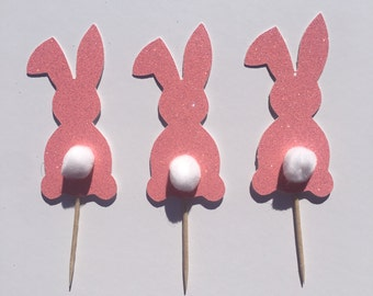 Easter Cupcake Topper, Bunny Tail Cupcake toppers set of 12