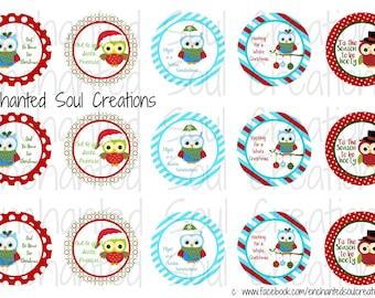 "Christmas Bottle Cap Images, Bottle Cap Image Collage, Xmas Owl Bottle Cap Images, 1"" Bottle Cap Images, Instant Download, Digital Art"