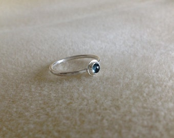 Rose cut London Blue Topaz Fine and Sterling silver dainty ring