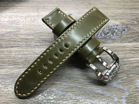 leather watch band, handmade, Shell Cordovan leather, watch strap, Panerai, 24mm, 26mm watch band, Army Green, chrome heart, FREE SHIPPING
