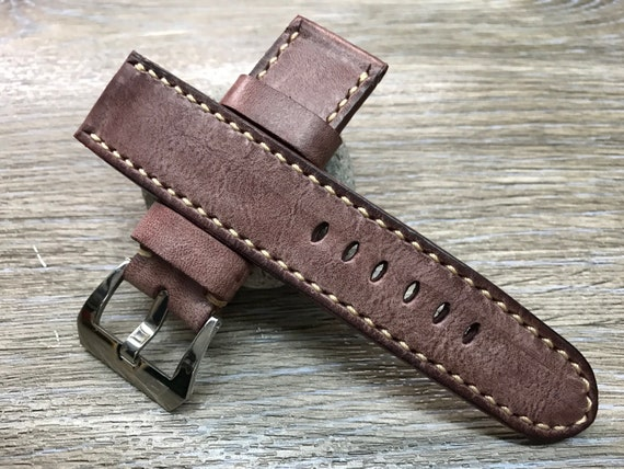 24mm straps, Handmade waxed vintage leather watch band, real leather watch strap, watch strap for Panerai, 24mm, 26mm, Dirty white stitching