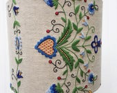 HANDMADE Vintage EMBROIDERED Tablecloth Drum LAMPSHADE 12 inch diameter 10 inches tall Lamp Shade with Hearts Leaves Flowers Blue Green