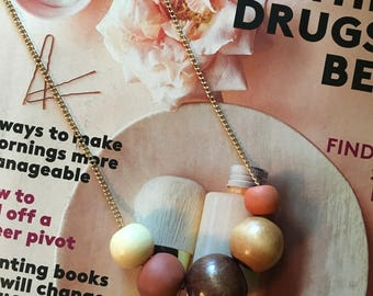 Burnt Orange Polymer Clay and Wood Bead Necklace
