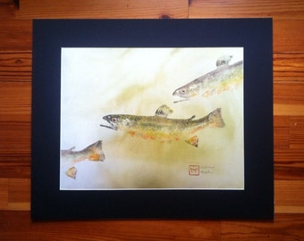 Original Brook Trout Gyotaku on hand-dyed rice paper.