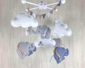 Baby mobile - elephant mobile - cloud mobile - nursery decor - gender neutral - elephant nursery decor - grey and white - stars