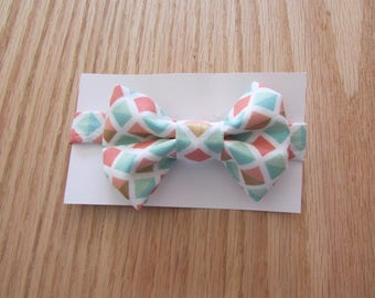 Boys Bowtie With Diamond Shape Of Aqua,Tangerine And Gold, Boy's White Bowtie With Aqua, Tangerine And Gold Diamond