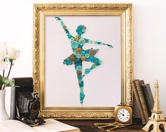 Made to Order Ballerina Button Art - Ballerina Girl's Room Decor - Unique Gift for Girls - Mixed Media Ballerina Art - Ballet Dancer Decor