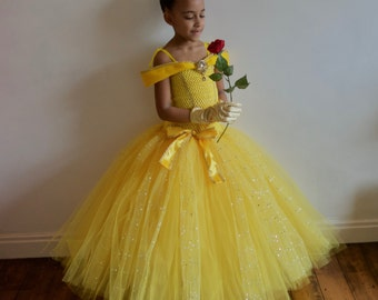 Princess Belle Beauty & the Beast Deluxe inspired Gown, Rhinestone Brooch! FREE Gloves Or Tiara Age 3 up to 12 yrs