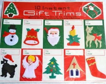 Vintage Christmas Gift Tags - Felt Stick On Trims - NOS