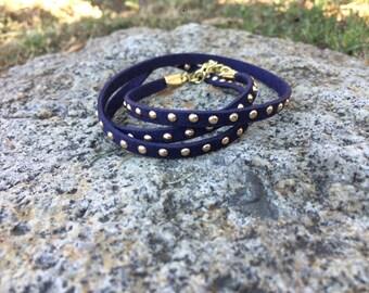 SALE || Navy Blue Stud Wrap Bracelet