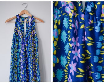 SALE 70s blue floral deep-V maxi dress | S