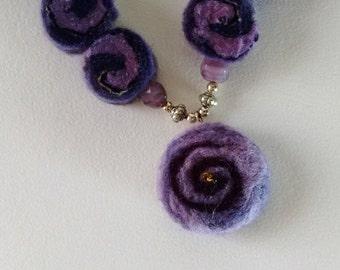 Purple Spiral Felted Necklace - Felt - Pendant - Felt Jewelley - Statement Necklace (61)