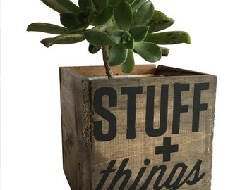 Stuff & Things Reclaimed Wood Planter or Desk Organizer Pencil Holder Waterproof