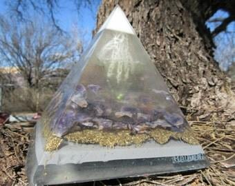 Orgone Pyramid, Fluorite, Amethyst, Brass, Aluminum