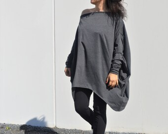 Asymmetrical Loose Sweater/ Raglan Tunic / Knit Cotton Sweater /Casual Top ZM192a
