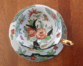 Norcrest Indian Tree Style with Bird Tea Cup and Saucer - 3/623 Japan