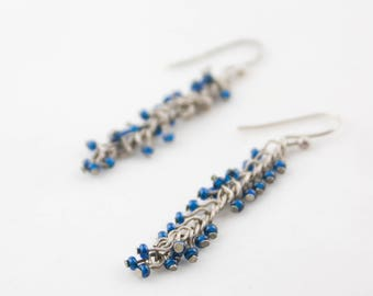 Vintage Blue Seed Beads Silver Tone Chain Dangle Earrings
