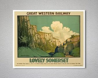Lovely Somerset Vintage Travel Poster, 1930 - Poster Print, Sticker or Canvas Print