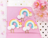 Sweet Kawaii Rainbow Cabochons - Planner Clips