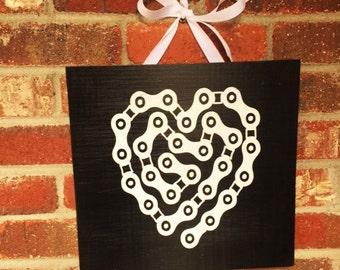I love Bikes! Cycling Heart hand Painted sign, bike chain art