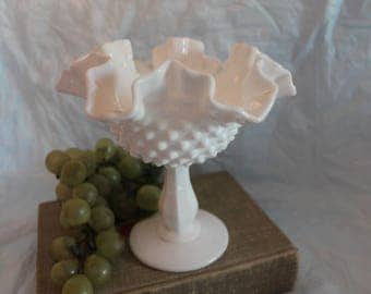 Fenton White Milk Glass White Hobnail Ruffled Footed Compote or Candy Dish