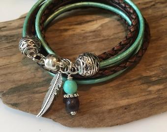 Boho Bracelet, Boho Leather Wrap, Leather Bracelet, Hipster,Turquoise, Brown Bracelet,Custom Charm, Military,Feather, Initial,Cross