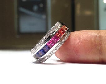 2.00 Carat Rainbow Sapphire Ring in 925 Sterling Silver