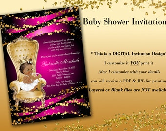 Baby shower invitation, Royal Baby Shower Invitations, Princess Baby Shower Invitations, Pink Baby Shower Invitations, Pink and Gold