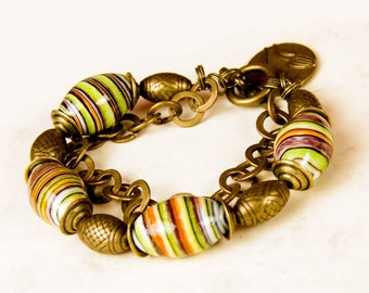 bracelet with porcelain, C371,beaded brancelet, jewelry,with pendants,for gift, for her,