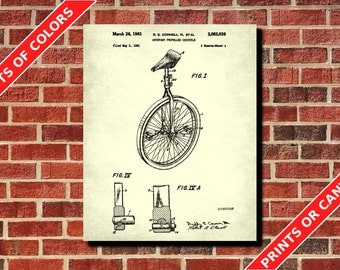 Unicycle Patent Print Bicycle Patent Print Bike Blueprint Cycling Patent Print Cyclist Gift Cycling Decor