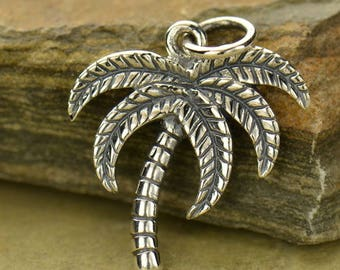 Sterling Silver Palm Tree Charm.