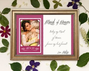 Maid of Honor Gift, Matron of Honor Gift, Bridesmaid Gift Thank You, Personalized Maid of Honor Picture Frame, Custom Wedding Gift