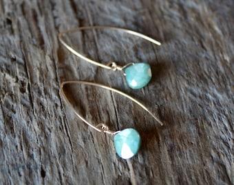 Green Moonstone Teardrop Gold Filled Marquise Earrings