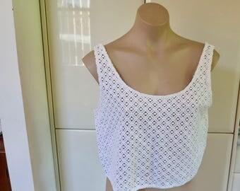SALE 90s white guipure lace crop top, white lace top, tank top,  lace blouse, vintage, singlet blouse, M Medium 12, 417/236