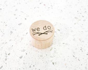 Personalised round wooden ring box - wedding ring box