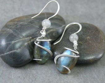 Labradorite Oval Cold Forged Sterling Silver earrings