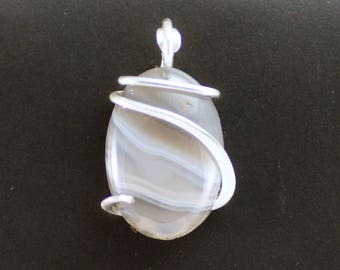 Botswana Agate Oval Cold Forged Sterling Silver Pendant