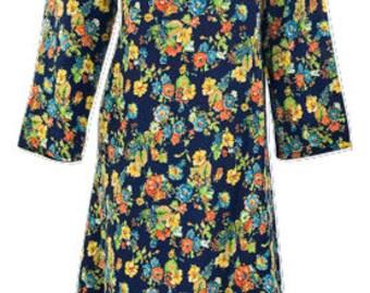 Plus size hippie boho floral print handkerchief hem v neck tunic dress