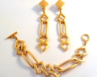 Vintage Chunky Geometric Large Statement Earring And Bracelet Set By Sphinx
