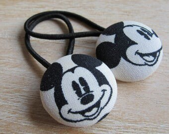 Fabric Covered Button Hair Elastic – Mickey Mouse (Set of 2)