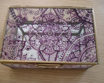 hand painted mandala glass mirror box