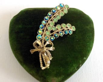 Beautiful Vintage Crystal Brooch A B Green Blue