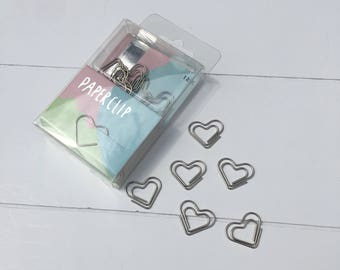 Set of 12 silver hearts paperclips (PA01)