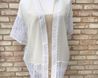 White Lace Kimono, White Beachwear, Boho Chic, Bohemian Gypsy, Kimonos, Kimono Cardigan, Swim Cover, Resortwear, Maternity,Mother's Day Gift
