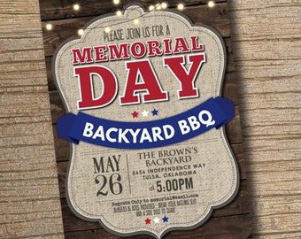 Memorial Day BBQ Party Invitation, Printable Memorial Day Invitation, BBQ Party Invitation, Summer Party BBQ