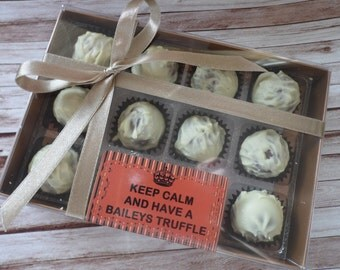 Keep Calm And Have A Baileys Truffle! - Novelty Gift 6/8/12 Baileys Chocolate Truffles - Personalised Gift